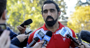 SPOTLIGHT: Adam Goodes faces the media yesterday. Picture courtesy Fox Sports.