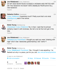 Screen Shot of the Twitter feed between @stellajyoung and @joe_hildebrand
