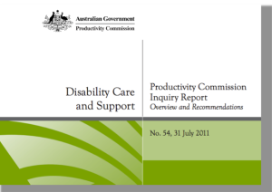 Photograph of the cover of the 2011 Australian Productivity Commission report into Disability Care and Support in Australia.