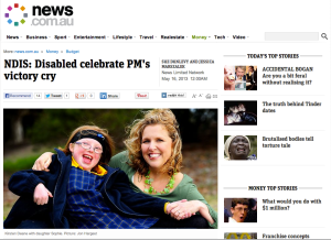 A screen capture of the web site news.com.au and its coverage of the DisabilityCare funding legislation being introduced to the Australian Parliament, 16 May, 2013.