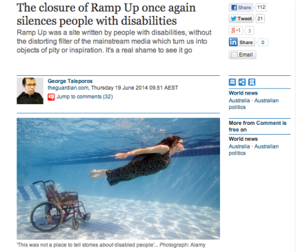 Screen shot of The Guardian article. Features a photo of a fully clothed woman swimming away from her wheelchair. Both are completely under water.